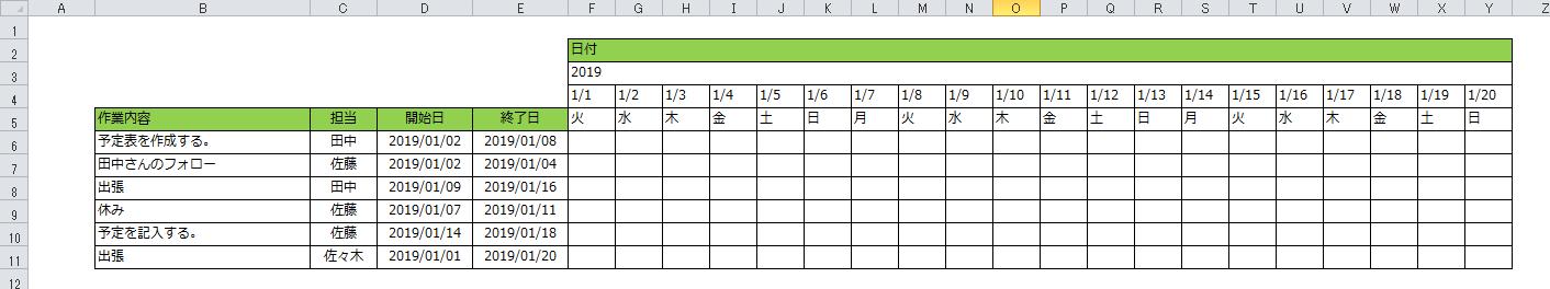 エクセル スケジュール表 フォーマット